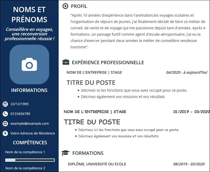 cv reconversion professionnelle conseill u00e8re en voyages