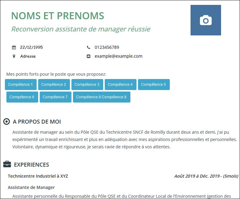 cv reconversion professionnelle assistante de manager