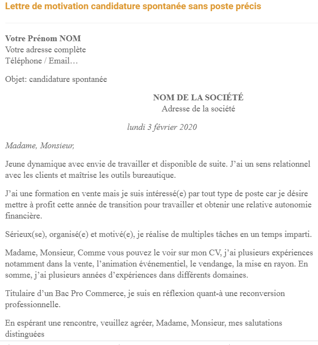 lettre de motivation candidature spontan u00e9e sans poste pr u00e9cis